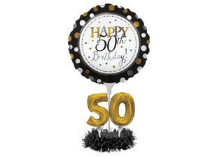 """Pack of 4 Black and Gold """"Happy 50th Birthday"""" Party Balloon Centerpiece Kit 24"""""""