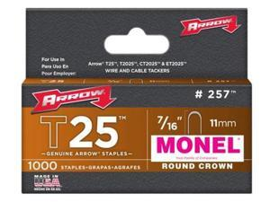 Arrow Fastener 257M T25 7/16 Inch (11mm) Monel Staples, 1000/Pk