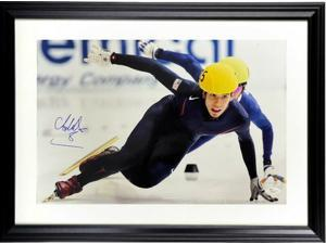 Apolo Anton Ohno signed US Olympic World Champion Speed Skater 12x18 Photo Custom Framing- JSA #N88669