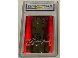Michael Jordan 1996 Skybox NBA Hoops 23 KT Gold Red Holo Refractor Card- WCG Graded 10 Gem Mint- LTD #2408 (Chicago Bulls)