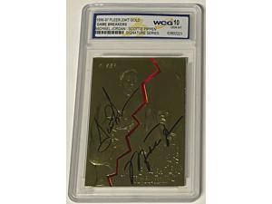 Michael Jordan & Scottie Pippen 1996-97 Fleer Signature Series 23 KT Gold Card- WCG Graded 10 Gem Mint-LTD #1799 (Chicago Bulls)