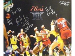 Franklin Edwards signed Philadelphia 76ers 16x20 Photo 1983 NBA Champions w/ 6 Signatures vs Lakers