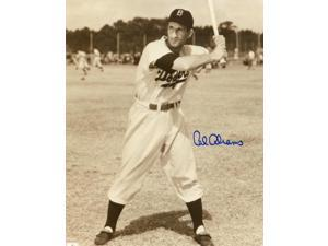 Cal Abrams signed Brooklyn Dodgers Vintage Sepia 8x10 Photo (full view batting-deceased)