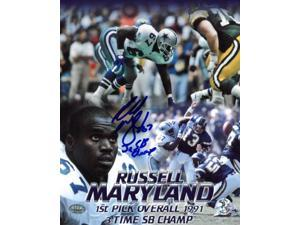Athlon CTBL-018619 Russell Maryland Signed Dallas Cowboys 8 x 10 Photo with 3X SB Champ Collage - Maryland Hologram