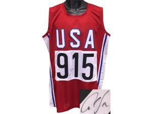 Carl Lewis signed Red TB Team USA Custom Stitched Pro Style Track & Field #915 Jersey XL- JSA Hologram