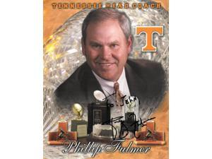 Phillip Fulmer signed Tennessee Volunteers 8x10 Photo To John (Head Coach w/ trophies)