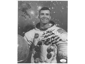 Fred Haise signed NASA Astronaut/Pilot Vintage B&W 8x10 Photo Apollo 13 LMP Best Wishes To Stacey- JSA Hologram #EE62134