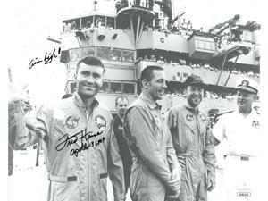 Fred Haise signed NASA Astronaut/Pilot Vintage B&W 8x10 Photo Apollo 13 LMP Aim High- JSA Hologram #EE62179