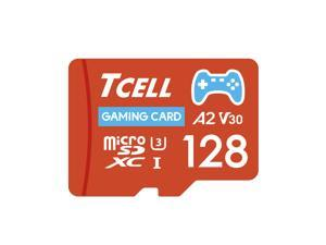 TCELL Gaming 128GB microSDXC A2 USH-I U3 V30 Read 100MB/s Write 80MB/s Memory Card With Adapter, Designed for Gaming Console, Compatible with Nintendo Switch, Wii etc.