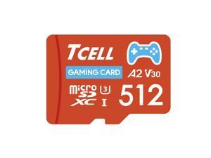 TCELL Gaming 512GB microSDXC A2 USH-I U3 V30 Read 100MB/s Write 80MB/s Memory Card With Adapter, Designed for Gaming Console, Compatible with Nintendo Switch, Wii etc.