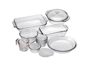 "Anchor 15 Pc. Bake Set - 2 quart Baking Dish, 1.5 quart Casserole, 1.5 quart Loaf Pan, 1 quart Mixing Bowl, 9"" Diameter Pie Pan, 8 fl oz Measuring Cup, 6 fl oz Custard Cup, Lid - Plastic Lid, Glass"