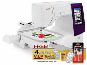 Janome Memory Craft 9850 Computerized Sewing and Embroidery Machine w/Free Arm Embroidery Hoop + Optic Magnifier Set + More!