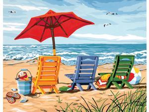 """Paint By Number Kit 14""""X11""""-Beach Chair Trio"""