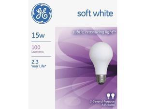 GE Lighting 97491 2-Pack Soft White Light Bulb-15W 2PK SW BULB