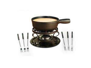 Swissmar Lugano 9Pc Cheese Fondue Set - Black Matte