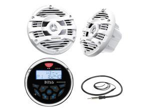 New Boss Audio Marine Bluetooth In Dash MP3 USB Receiver Marine Gauge Stereo Digital Media AM/FM Audio Radio Player With 2 X 6.5 Inch Kenwood Marine Audio Spekaers System White + Enrock Marine Antenna