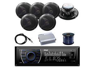 4-Channel 400W Amplifier w//Wiring Kit Sound Around Lanzar Waterproof Bluetooth Marine Digital Media Silver Stereo Radio Receiver 6 x Pyle 6.5 Full-Range 240W Boat Speakers Radio Antenna