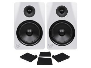 "(2) Rockville DPM8W Dual Powered 8"" 600w Active Recording Studio Monitors+Pads"