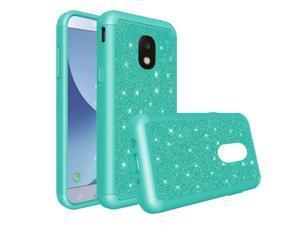 Samsung Galaxy J7 2018 Case by Insten Tough Glitter Bling Diamond Dual Layer [Shock Absorbing