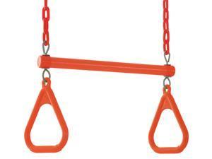 Swingan - Trapeze Swing Bar - Vinyl Coated Chain - Fully Assembled - Orange
