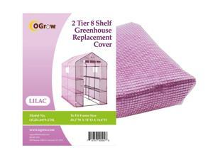 "Ogrow® Premium PE Greenhouse Replacement Cover, Lilac - fits Frame Size 74""L x 49""W x 75""H"