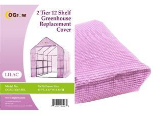 "Ogrow® Premium PE Greenhouse Replacement Cover, Lilac - fits Frame Size 117""L x 67""W x 83'""H"