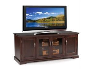 """Leick Riley Holliday Bronze Glass 60"""" TV Stand in Chocolate Cherry"""