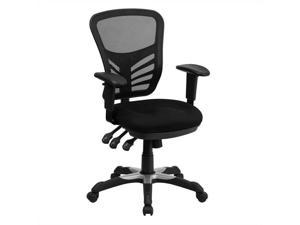 Mid-Back Black Mesh Multifunction Executive Swivel Ergonomic Office Chair with Adjustable Arms