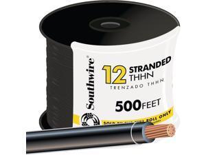 Southwire 22964158 THHN Wire-500' 12STR BLK THHN WIRE