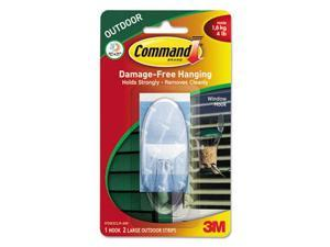 Command All Weather Hooks and Strips Plastic Large 1 Hooks & 2 Strips/Pack