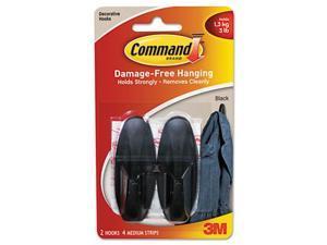 Command Designer Hooks Plastic Black 2 Hooks & 4 Strips/Pack 17081BLK