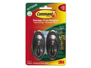 Command All Weather Hooks and Strips Plastic Medium 2 Hooks & 4 Strips/Pack