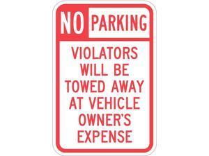 "LYLE T1-1061-HI_12x18 Tow Zone No Parking Sign, 12"" W, 18"" H, English,"