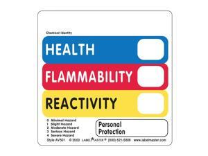 LabelMaster AV501 Warehouse Labels, 5 X 2 7/8, Health/Flammability/Reactivity Vl, 500/Roll