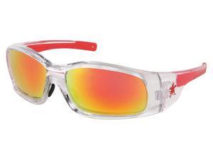 MCR Red/Orange Mirror Safety Glasses, Scratch-Resistant MCR SAFETY SR14R