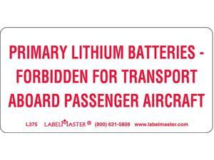 Labelmaster Primary Lithium Battery Label  Paper  L375