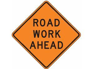 LYLE W20-1D-30HA Work Ahead Sign,30 x 30In,BK/ORN,Text