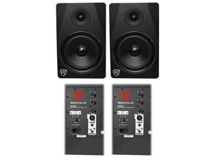 "(2) Rockville DPM8B Dual Powered 8"" 600 Watt Active Studio Monitor Speakers"