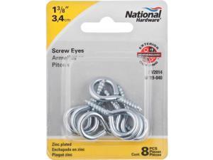 National #8 Brass Large Screw Eye N119362-1 Each 3 Ct.