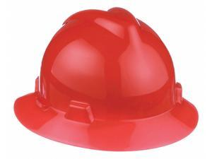 Msa Full Brim Hard Hat, 4 pt. Pinlock Suspension, Orange, Hat Size: 6-1/2 to 8