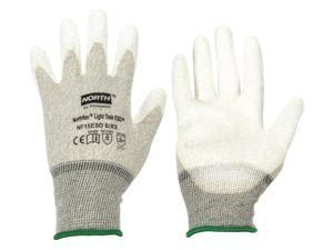 Antistatic Gloves, Gray/White, Nylon/Thunderon® Shell, Size 2XL, Rolled Cuff