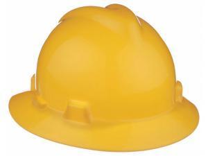 Msa Full Brim Hard Hat, 4 pt. Pinlock Suspension, Yellow, Hat Size: 6-1/2 to 8