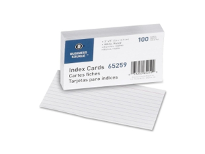 """Business Source Index Cards Ruled 72 lb. 3""""x5"""" 100/PK White 65259"""