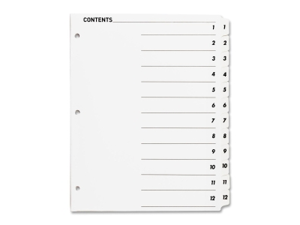 """Index Dividers,w/TOC Page,1-12, 12 Tabs/ST,11""""x8-1/2"""",White"""