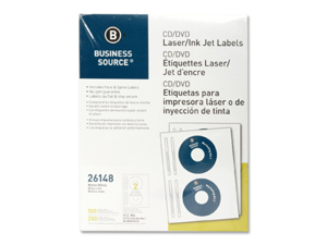 Business Source CD/DVD Labels Laser/Inkjet 100/PK White 26148