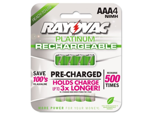 Rayovac Platinum Rechargeable NiMH Batteries, AAA, 4 per Pack