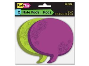 Thought Bubble Notes, 2 3/4 x 3, Green/Purple, 75-Sheet Pads, 2/Set 22102