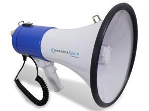 Technical Pro, Portable Lightweight Megaphone, 3000ft Range Bullhorn W/ Strap, Siren, Volume Control, Compact Design, 40 Watt Good for for Trainers, Soccer, Football, Baseball, Coaches, Kids, Teachers