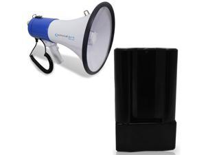 Technical Pro Portable Lightweight Megaphone 800-1000M Range Bullhorn w Strap, Siren and Megaphone Battery Rechargeable w Built In AC Wall Charger Compatible with Most Megaphones Which Use C Batteries