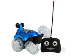 Blue RC Remote Controlled Stunt Car with 360 Front Wheels for Flipping, Spinning and Racing, Lights Up And Music by Dimple